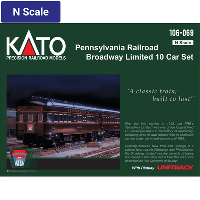 Kato, N Scale, 106069, Broadway Limited 10-Car Passenger Car Set, Pennsylvania Railroad, (2019 Edition and Road Numbers)