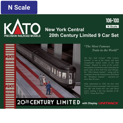 Kato, N Scale,  106-100, 20th Century Limited Passenger Car Set, New York Central, 9 Car Set