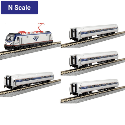 Kato, N Scale, 1068001-DCC, ACS-64, Amtrak/Amfleet I Phase VI 5-Unit Bookcase Set, (Kobo DCC Installed)