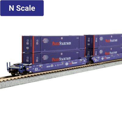 Kato, N Scale 1066180, MAXI-IV 53' Stack Cars, with Pacer Stacktrain Containers, Pacer, #6066, (3-Pack)