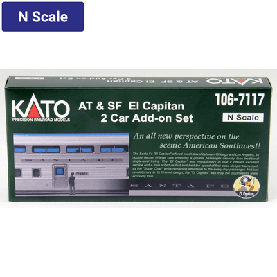"Kato, N Scale, 160-7177, Santa Fe, ""El Capitan"" 2-Car add on set"