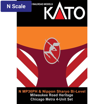 Kato, N Scale, 1068701KB1, MP36PH, Chicago Metra/Milwaukee Road, Heritage 4-Unit Train Set
