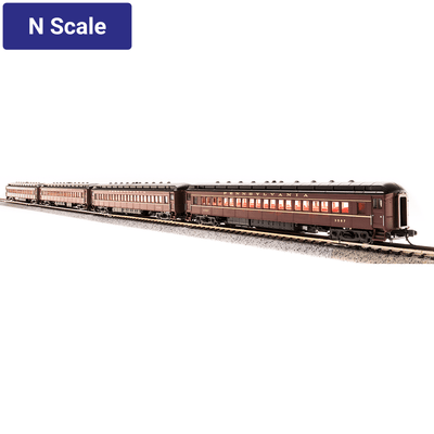 Broadway Limited, N Scale, 3760, PRR P70 w/Ice AC, Tuscan Red w/ Gold Lettering & Stripes, 4-Car Set