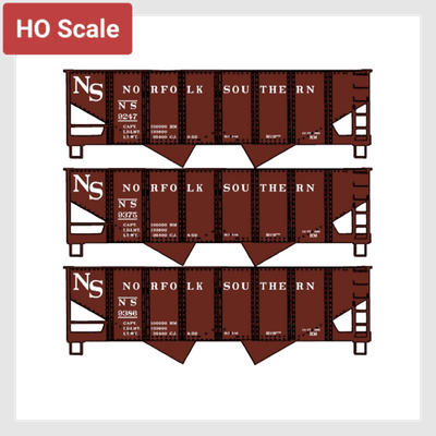 605120954391 - Accurail 8094 Usra Twin Hopper 3-Car Set Norfolk Southern (Ho Scale Kit) - Rj's Trains