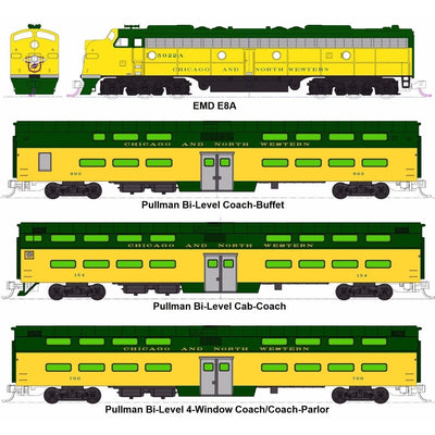 "Kato, N Scale, 106-104, EMD E8A and Pullman Bi-Level ""400"" Train, Chicago and North Western (6-Unit Set)"