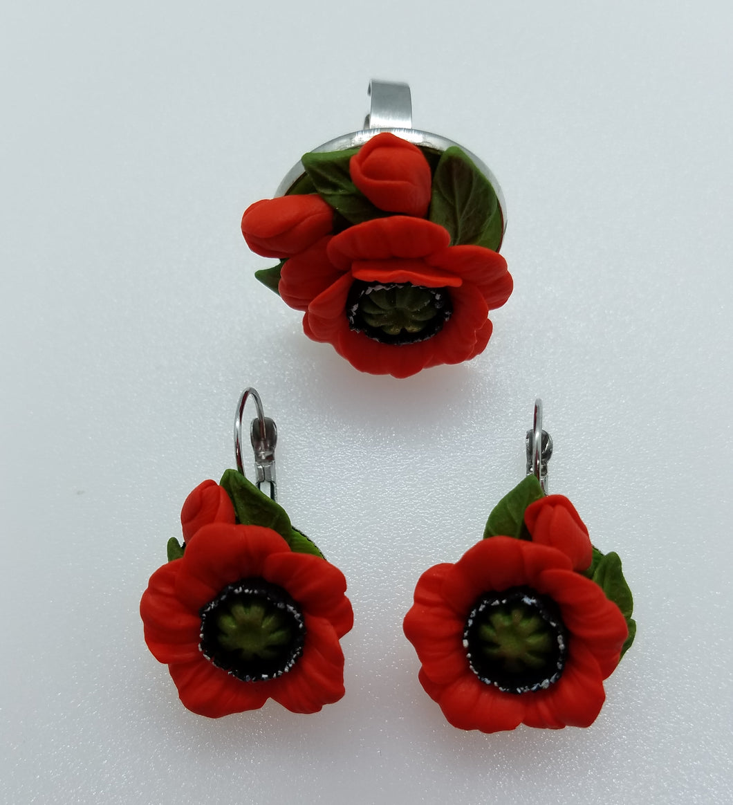 Set ''Poppies'' errings+ring