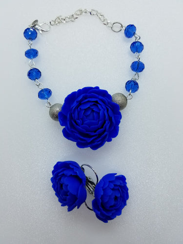 Set of 2 bracelet and earrings ''Сobalt blue Flowers''