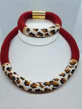 Cheetah Necklace  and bracelet beadwork set