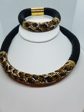 Cheetah Necklace  and bracelet beadwork set SPRING SALE - Lora's Treasures