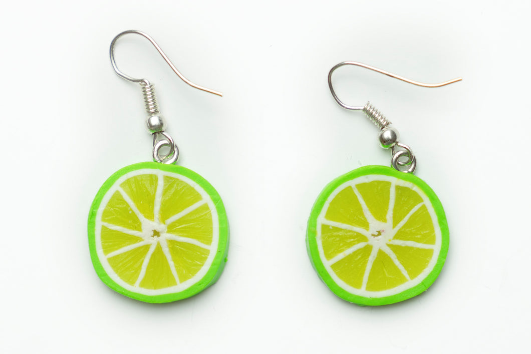 Handmade Lime earrings from polymer clay by Lora's Treasures.  Food jewelry series.