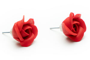 Gorgeous handmade polymer clay rose flower earrings.  By Lora's treasures.
