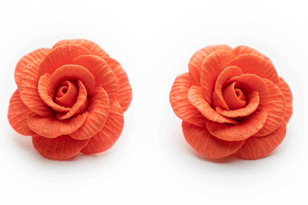 Gorgeous handmade polymer clay rose flower earrings.  By Lora's treasures