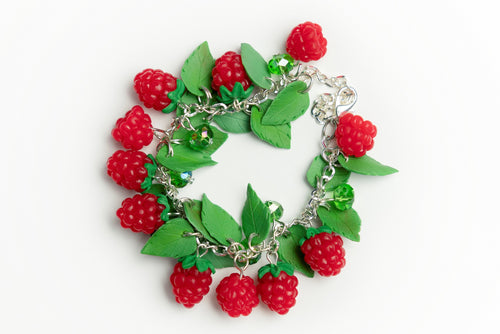 Beautiful handmade polymer clay Raspberry bracelet. Food jewelry series.  by Lora's Treasures.