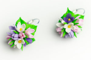 Beautiful handmade Spring flower earrings from polymer clay, food jewelry series.  by Lora's Treasures