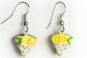 Beautiful handmade polymer clay Lemon cake earrings, food jewelry series.  by Lora's Treasures