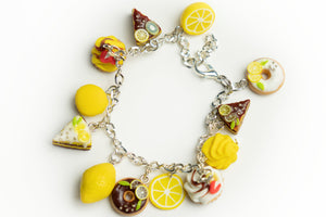 Beautiful handmade polymer clay Lemon sweets bracelet. Food jewelry series.  by Lora's Treasures.