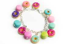 Beautiful handmade polymer clay Donuts & Macarons bracelet. Food jewelry series. By Lora's Treasures.