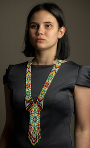 "Beaded necklace or set and earrings ""Gerdan"" Geometry and flowerson white background - Lora's Treasures"