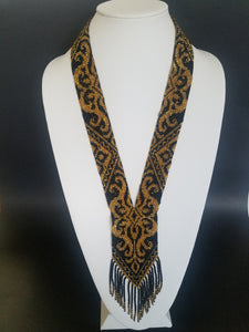 "Beaded necklace ""Gerdan"" Black and gold - Lora's Treasures"
