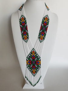 "Beaded necklace ""Gerdan"" Geometry on white background"