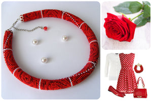 "Necklace ""Red Roses"""