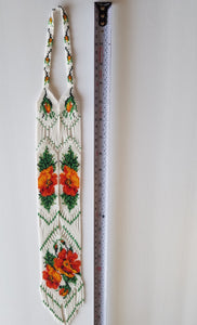 "Beaded necklace ""Gerdan"" Orange flowers on white background - Lora's Treasures"