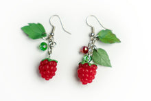 Beautiful handmade Raspberry earrings from polymer clay, food jewelry series.  by Lora's Treasures