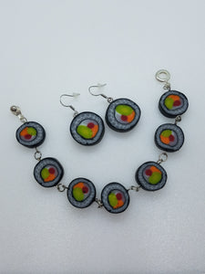 """Sushi"" Polymer clay earrings - Lora's Treasures"