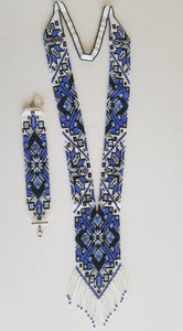 "Beaded set of 2 necklace and bracelet  ""Gerdan"" Geometry on white background - Lora's Treasures"