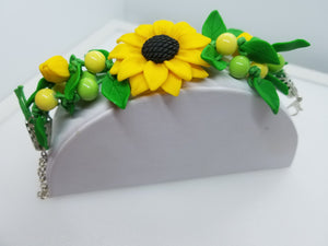 Beautiful handmade bracelet from polymer clay, flower jewelry series.  by Lora's Treasures