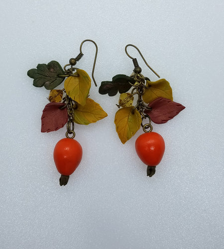Earrings with dog-roses - Lora's Treasures