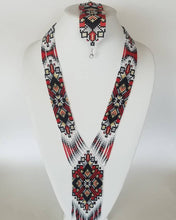 "Beaded set of 2 necklace and bracelet  ""Gerdan"" Geometry on white background"