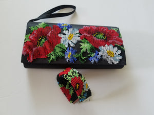SET OF 2 HANDMADE EMBROIDERY HANDBAG AND  2 SIDED BRACELET