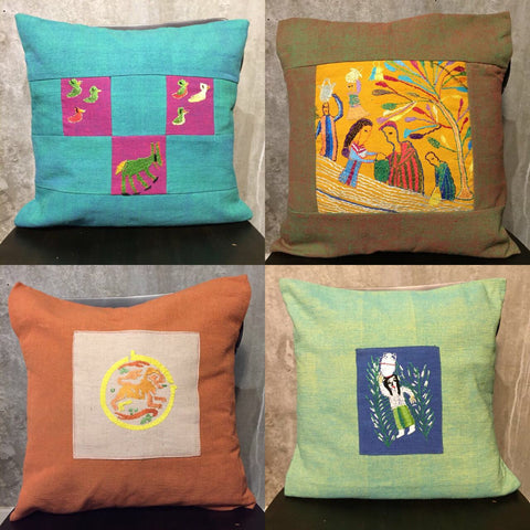 Handwoven and embroidered cushion covers