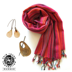 Small Striped Scarf and Recycled Horn Shawl Pin
