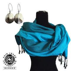 Double-faced Diagonal Handwoven Shawl and Eclipse Horn Earrings With Peruvian Silver 925
