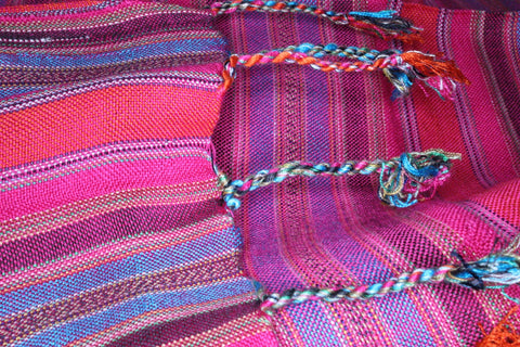 Multi-colored pinstriped handmade unisex scarf shawl