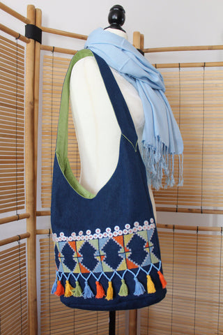 Bahga Arish Handcrafted Shoulder Bag - Navy Blue Jeans