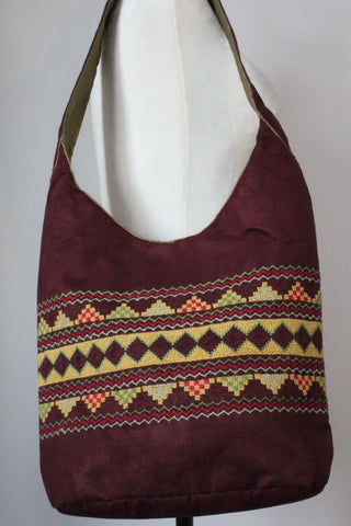 Bahga Handcrafted Shoulder Bag - Burgundy