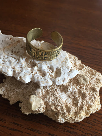 Handmade Brass Band Ring - Hieroglyphs