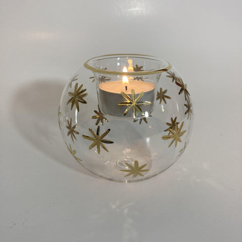 Blown Glass Candle Holder - Gold Stars