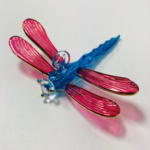 Blown Glass Ornament - Dragonfly Fuchsia & Turquoise