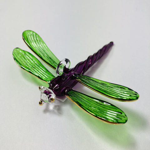 Blown Glass Ornament - Dragonfly Green & Purple