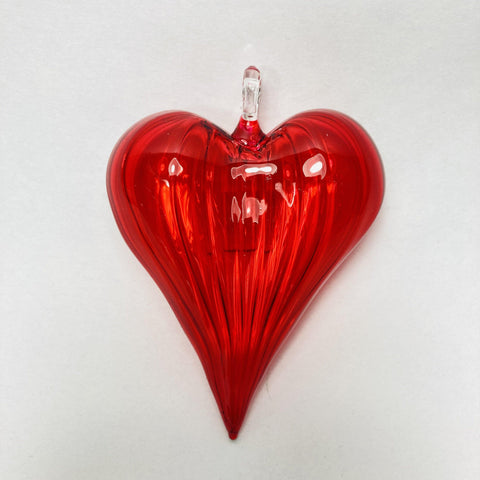 Blown Glass Ornament - Heart: Red