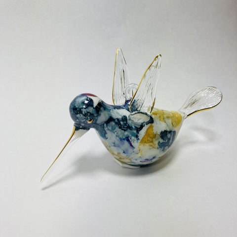 Blown Glass Ornament - Hummingbird Multi / Blue