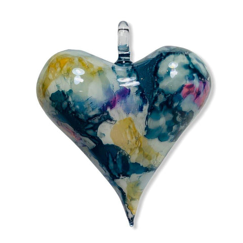 Blown Glass Ornament - Heart Multi / Blue