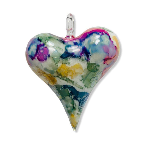 Blown Glass Ornament - Heart Multi / Green