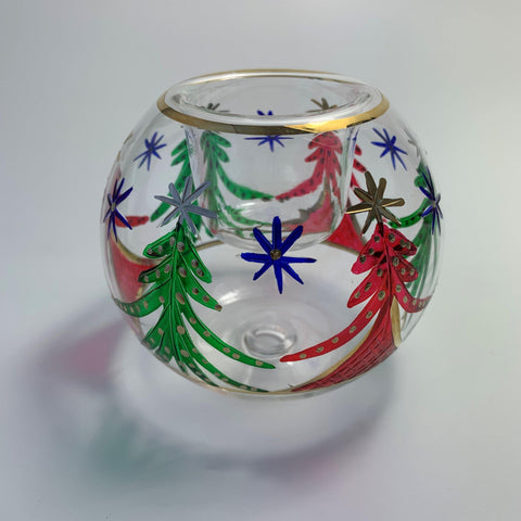 Blown Glass Candle Holder - Christmas Trees