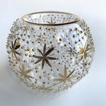 Blown Glass Candle Holder - Gold Stars & Dots