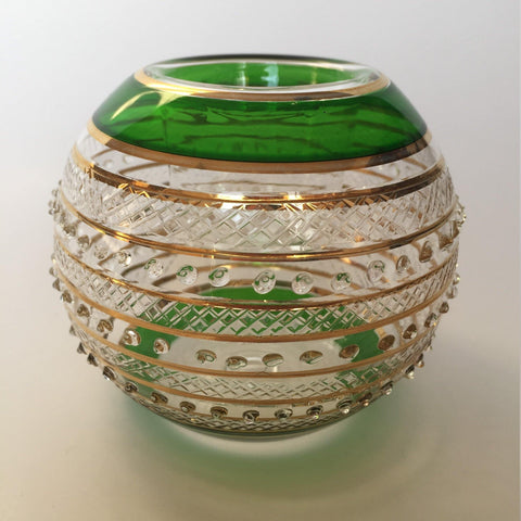 Blown Glass Candle Holder - Green Border